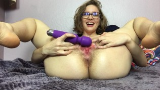 Horny glasses blonde with hairy pussy squirting on cam