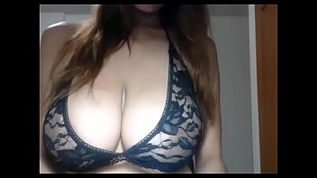 Horny brunette big tits hottie striptease