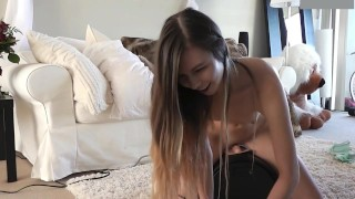 Adorable Teenage Girl Rides Sybian For First Time