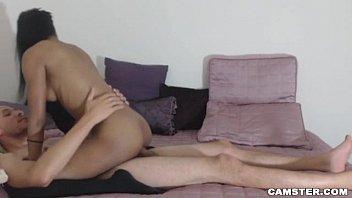 Petite Ebony Babe Rides Big White Cock On Cam